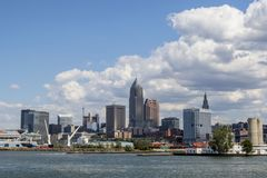 Cheveland Skyline under clouds. Buildings in the skyline of Cleveland, Ohio along the shore of Lake Erie, under a cloudy sky in August 2015 Royalty Free Stock Photo