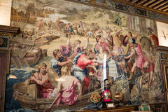 Cheverny Castle Loire Valley. A painted historical tapestry on the wall Royalty Free Stock Photos