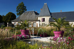 Cheverny Fountain and House in France Royalty Free Stock Images