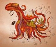 Cheveu circulant avec des lames d'automne Images stock