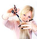 Cheveu de découpage de coiffeur Photos libres de droits