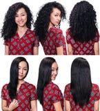 Cheveux avant et après le redressage Photo stock