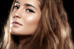 Cheveux brillants de beau volume, maquillage. Visage de mannequin Photos libres de droits