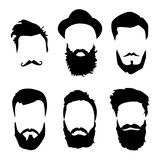 Cheveux détaillés et barbes de hippie réglés Homme barbu de mode Longue barbe avec la pilosité faciale Barbe sur le blanc illustration stock