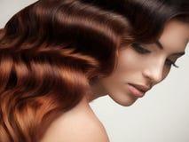 Cheveux de Brown. Portrait de belle femme avec de longs cheveux onduleux. photos libres de droits