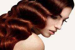 Cheveux de Brown. Portrait de belle femme avec de longs cheveux onduleux. Photographie stock libre de droits