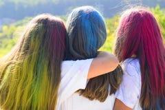 Cheveux de couleur Les meilleurs girfriends d'arbre avec les cheveux colorés enjoing pendant le moment Holi coloré sur les cheveu image stock
