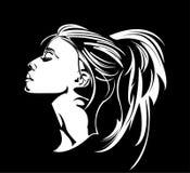 Cheveux de femmes de pochoirs longs image libre de droits