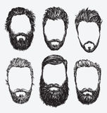 Cheveux de hippie et barbes, ensemble d'illustration de vecteur de mode Image libre de droits