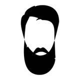 Cheveux détaillés et barbes de hippie réglés Homme barbu de mode Longue barbe avec le massage facial D'isolement sur le fond blan Image stock