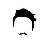Cheveux détaillés et barbes de hippie réglés Homme barbu de mode Longue barbe avec le massage facial D'isolement sur le fond blan Photographie stock libre de droits