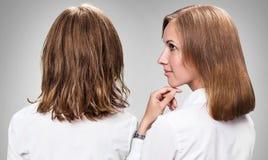 Cheveux justes avant et après le traitement Photos stock