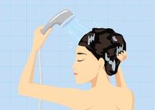 Cheveux lavant dans la salle de bains illustration de vecteur