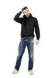 Cheveux masculins de fixation de mannequin avec la main Image libre de droits