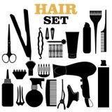 Cheveux rayés dénommant les silhouettes relatives réglées Images libres de droits