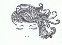 Cheveux sensuels femelles Photo stock