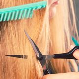 Cheveux smoothy de coupe de femme Photographie stock
