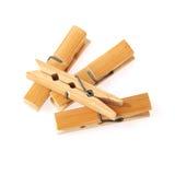 Chevilles en bois de tissu d'isolement sur le fond blanc Photo stock