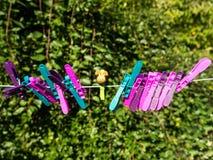 Chevilles en plastique de caractère coloré sur une ligne Images stock