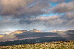 The Cheviot Hills at Carter Bar. The Cheviot Hills from the England Scotland Border viewpoint at Carter Bar, just after a rain storm Stock Image