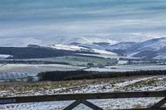Cheviot Hills, Northumberland. A view of the Cheviot Hills, and the Cheviot peak, covered in snow, in Northumberland. England. Photo taken from the Scottish side Stock Photos