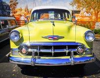 Chevrolet amarelo clássico, Rod Run Temecula Foto de Stock