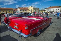1955 chevrolet bel air convertible. The picture is shot at the fish market in Halden, Norway Stock Photo