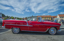 1955 chevrolet bel air convertible. The picture is shot at the fish market in Halden, Norway Stock Photos