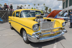 Chevrolet Bel Air on display. Pomona, USA - April 8, 2017: Chevrolet Bel Air on display during the Street Machine and Muscle Car at the Fairplex Exposition Stock Image