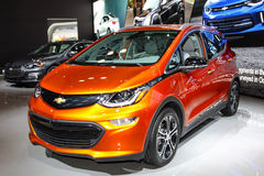 A Chevrolet Bolt EV at the 2016 New York International Auto Show. NEW YORK - MARCH 23: A Chevrolet Bolt EV at the 2016 New York International Auto Show during Stock Images
