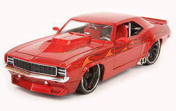 Chevrolet Camaro 1969. '69 Chevrolet Camaro custom street rod, Hot Wheels 2007 G Machines, 1:24 scale diecast, left front view, high angle Royalty Free Stock Photography