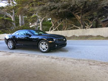 Chevrolet camaro car. Driving on a road with pine trees in the background, Carmel, California, U.S.A Royalty Free Stock Photo