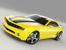 Chevrolet Camaro Concept 2009. Realistic render three-dimensional model of the yellow Chevrolet Camaro Concept 2009 stock illustration