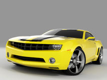 Chevrolet Camaro Concept 2009. Realistic render three-dimensional model of the yellow Chevrolet Camaro Concept 2009 royalty free illustration