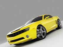 Chevrolet Camaro Concept 2009. Realistic render three-dimensional model of the yellow Chevrolet Camaro Concept 2009 vector illustration