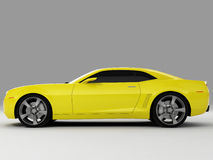 Chevrolet Camaro Concept 2009. Realistic render three-dimensional model of the yellow Chevrolet Camaro Concept 2009 Stock Images