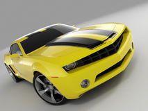 Chevrolet Camaro Concept 2009. Realistic render three-dimensional model of the yellow Chevrolet Camaro Concept 2009 Stock Image