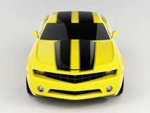 Chevrolet Camaro Concept 2009. Realistic render three-dimensional model of the yellow Chevrolet Camaro Concept 2009 Royalty Free Stock Photos
