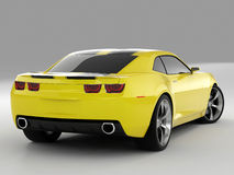 Chevrolet Camaro Concept 2009. Realistic render three-dimensional model of the yellow Chevrolet Camaro Concept 2009 Royalty Free Stock Images