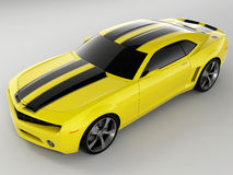 Chevrolet Camaro Concept 2009. Realistic render three-dimensional model of the yellow Chevrolet Camaro Concept 2009 Stock Photography