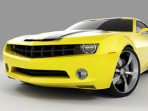 Chevrolet Camaro Concept 2009. Realistic render three-dimensional model of the yellow Chevrolet Camaro Concept 2009 Stock Photo