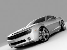 Chevrolet Camaro Concept 2009. Realistic render three-dimensional model of the silvery Chevrolet Camaro Concept 2009 vector illustration