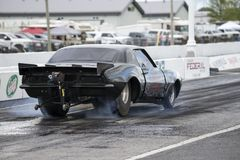 Chevrolet camaro drag car. Rear side view of Chevrolet camaro pro mod at starting line on the track during the john scotti all out august 17, 2017 Stock Photos