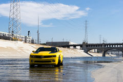 Chevrolet Camaro in Los Angeles river. Stock Images
