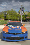 Chevrolet Camaro Mets Special Edition car in the front of the Citi Field, home of major league baseball team the New York Mets Stock Photos