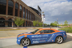 Chevrolet Camaro Mets Special Edition car in the front of the Citi Field, home of major league baseball team the New York Mets Royalty Free Stock Image