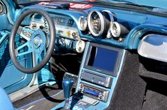 Chevrolet Corvair 700 Dashboard. Stylish blue Chevrolet Corvair model 700 dashboard, car presented at the 2012 Annual Antique Car Show in Maspeth, New York Stock Photos