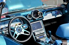 Chevrolet Corvair 700 Dashboard. Stylish blue Chevrolet Corvair model 700 dashboard, car presented at the 2012 Annual Antique Car Show in Maspeth, New York Stock Photography