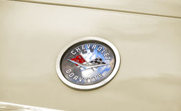 Chevrolet corvette badge. Photo of a vintage chevrolet corvette badge belonging to a 1950`s corvette C1 royalty free stock photography