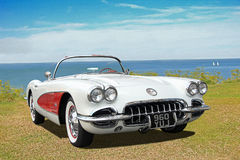Chevrolet corvette c1 vintage convertible. Photo of a vintage convertible chevrolet corvette c1 on display at whitstable outdoor car show during april 2017 stock photo